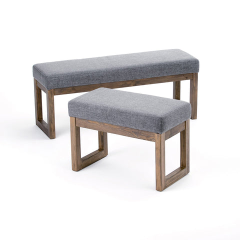 Grey | Milltown 44 inch Large Ottoman Bench in Linen Look Fabric