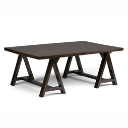 Dark Chestnut Brown | Sawhorse 48 inch Coffee Table