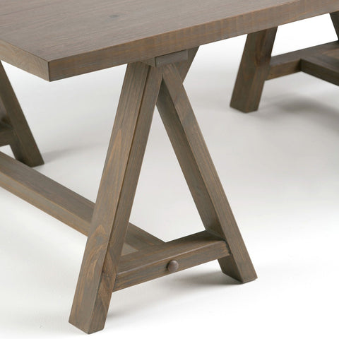 Distressed Grey | Sawhorse 48 inch Coffee Table