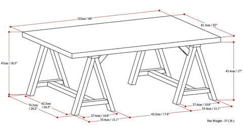 Medium Saddle Brown | Sawhorse 48 inch Coffee Table