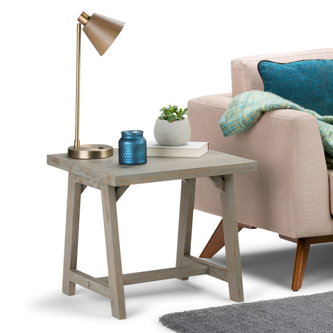Distressed Grey | Sawhorse 22 inch End Side Table