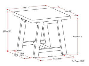 Sawhorse 22 inch End Side Table