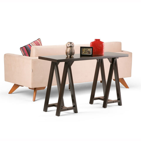 Dark Chestnut Brown | Sawhorse 50 inch Console Sofa Table