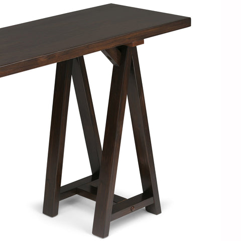 Dark Chestnut Brown | Sawhorse 66 inch Wide Console Sofa Table
