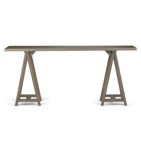 Distressed Grey | Sawhorse 66 inch Wide Console Sofa Table