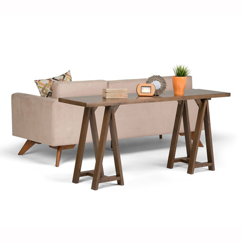 Medium Saddle Brown | Sawhorse 66 inch Wide Console Sofa Table