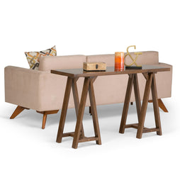 Medium Saddle Brown | Sawhorse 50 inch Console Sofa Table