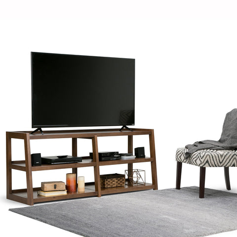 Medium Saddle Brown | Sawhorse 60 inch Wide TV Media Stand