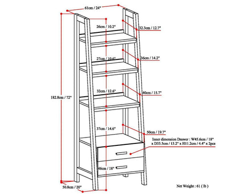 Dark Chestnut Brown | Sawhorse 24 inch Ladder Shelf with Storage