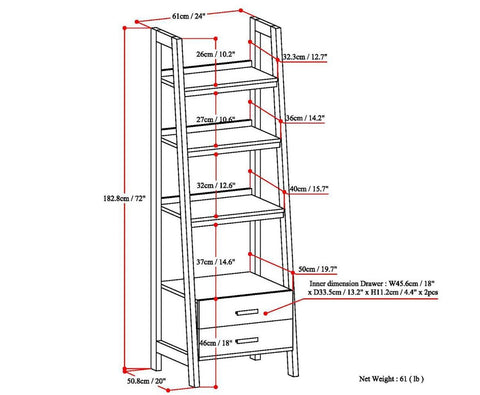 Medium Saddle Brown | Sawhorse 24 inch Ladder Shelf with Storage