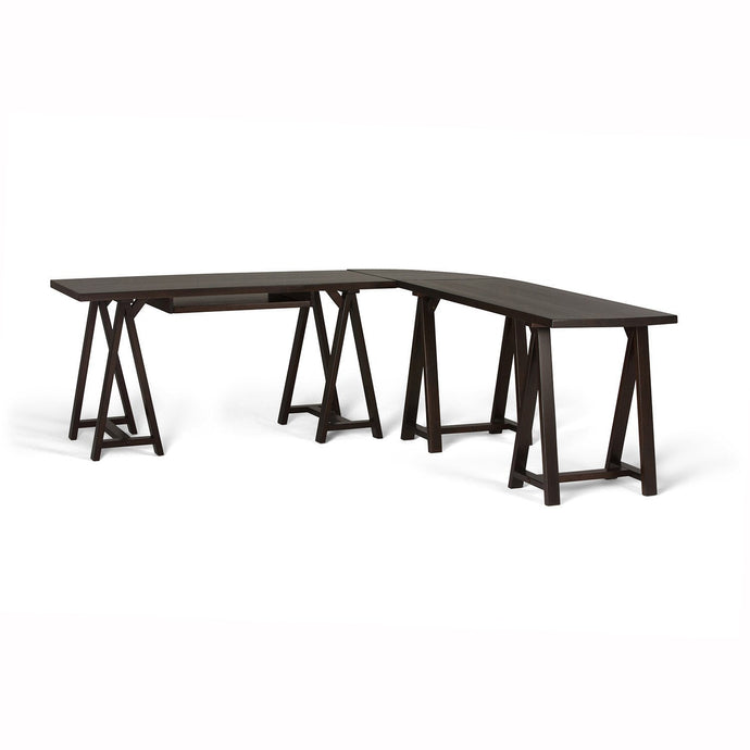 Dark Chestnut Brown | Sawhorse 84 inch L-Shape Corner Desk