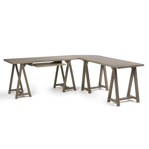 Distressed Grey | Sawhorse 84 inch L-Shape Corner Desk