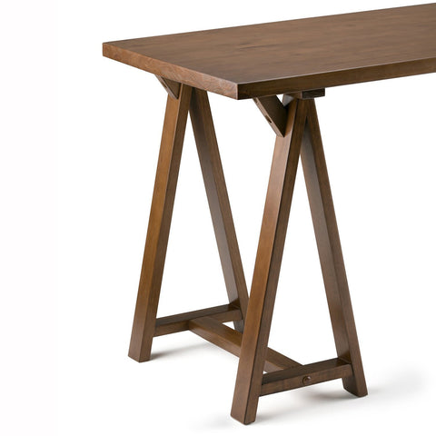 Medium Saddle Brown | Sawhorse 84 inch L-Shape Corner Desk
