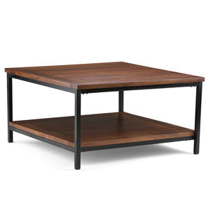 Dark Cognac Brown | Skyler 34 inch Square Coffee Table