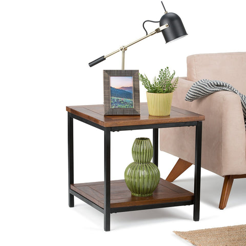 Dark Cognac Brown | Skyler 22 inch End Side Table