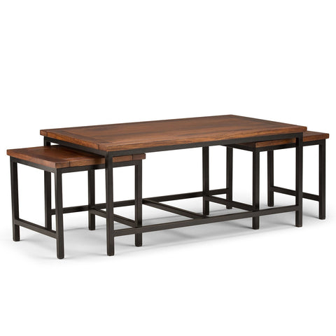 Dark Cognac Brown | Skyler Nesting 44 inch 3 Pc Coffee Table