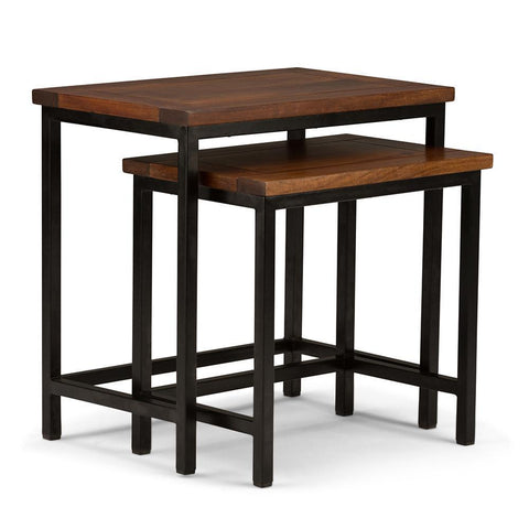 Dark Cognac Brown | Skyler 24.5 inch Nesting 2 Pc Side Table