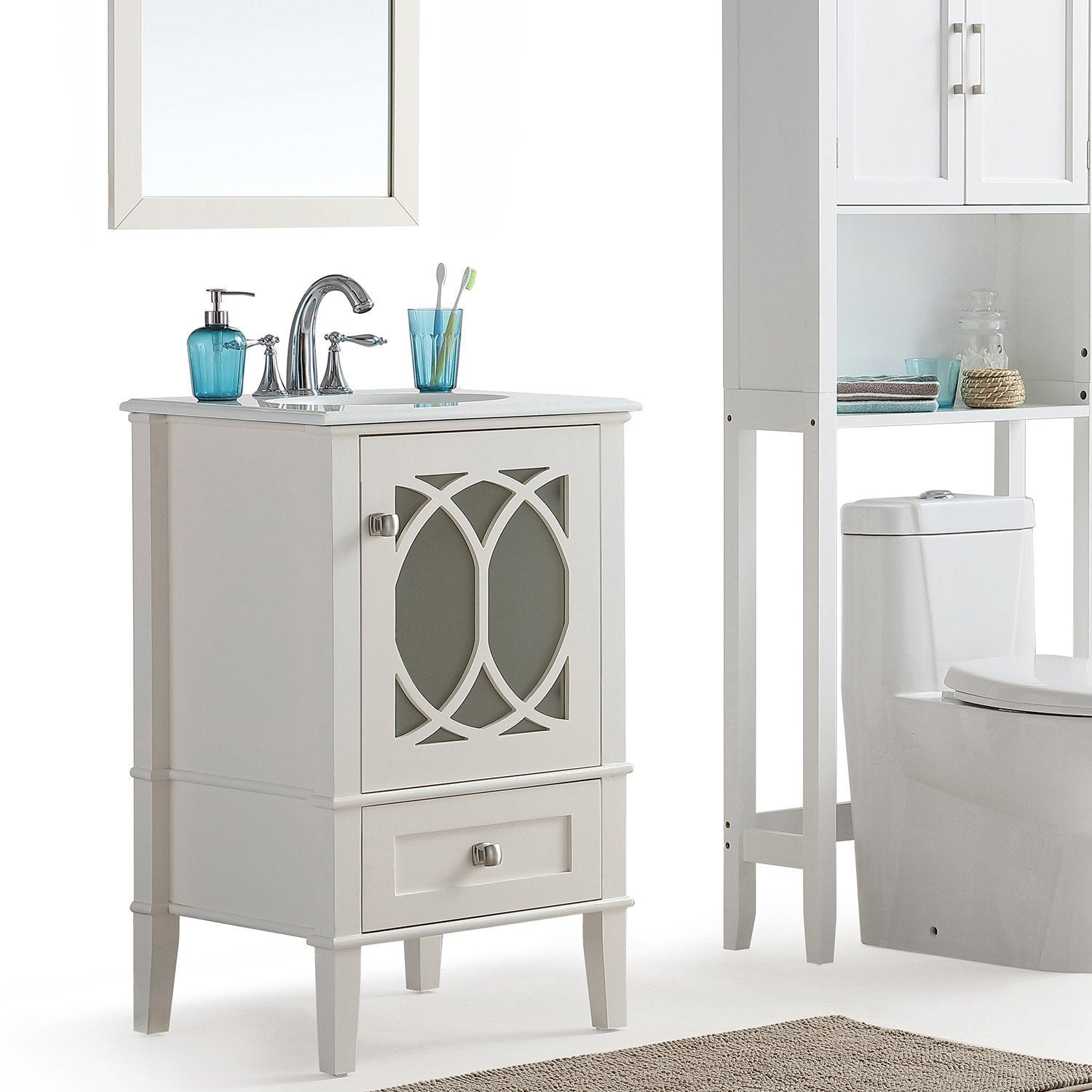 Paige 20 Inch Bath Vanity With White Engineered Marble Top Simpli Home