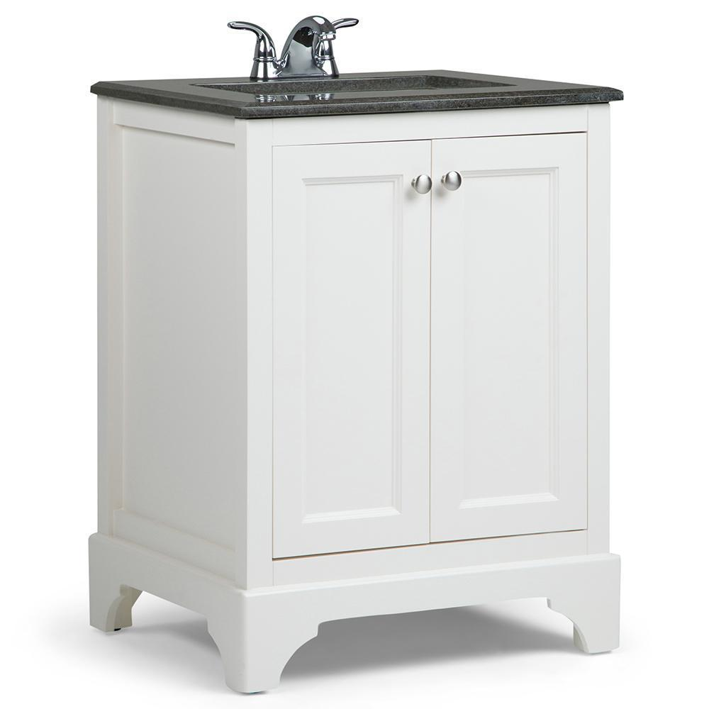 Marvelous Cambridge 24 Inch Bath Vanity In Soft White With Black Granite Top Download Free Architecture Designs Ogrambritishbridgeorg