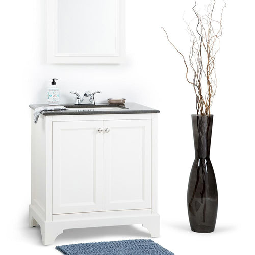 30 inch | Cambridge 30 inch Bath Vanity in Soft White  with Black Granite Top