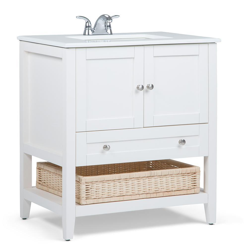 Cape Cod 30 inch Bath Vanity with White Engineered Quartz Marble Top