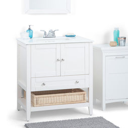 Soft White | Cape Cod 30 inch Bath Vanity with White Engineered Quartz Marble Top