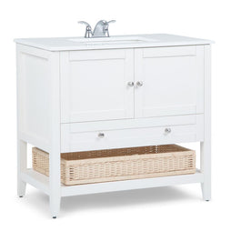 Sof White | Cape Cod 36 inch Bath Vanity with White Engineered Quartz Marble Top