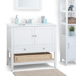 Soft White | Cape Cod 36 inch Bath Vanity with White Engineered Quartz Marble Top