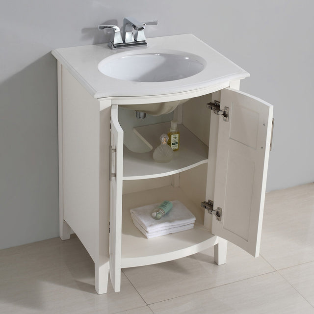 Load image into Gallery viewer, Soft White | Winston 24 inch Rounded Front Bath Vanity with Bombay White Engineered Quartz Marble Top