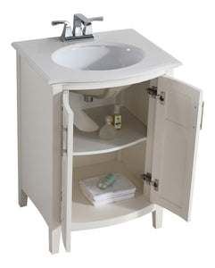 Winston Off White Bath Vanity with Rounded Front
