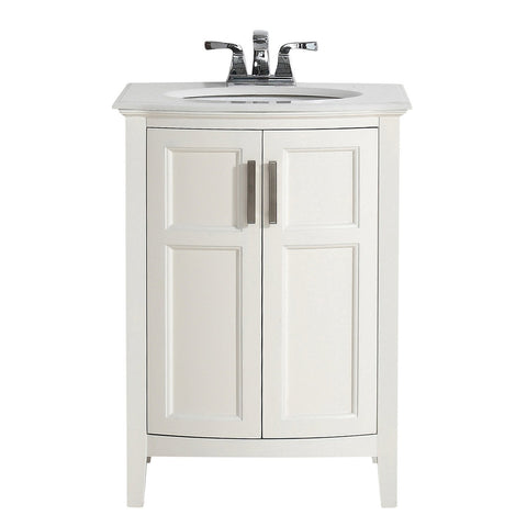 24 inch | Winston Soft White Bath Vanity with Rounded Front