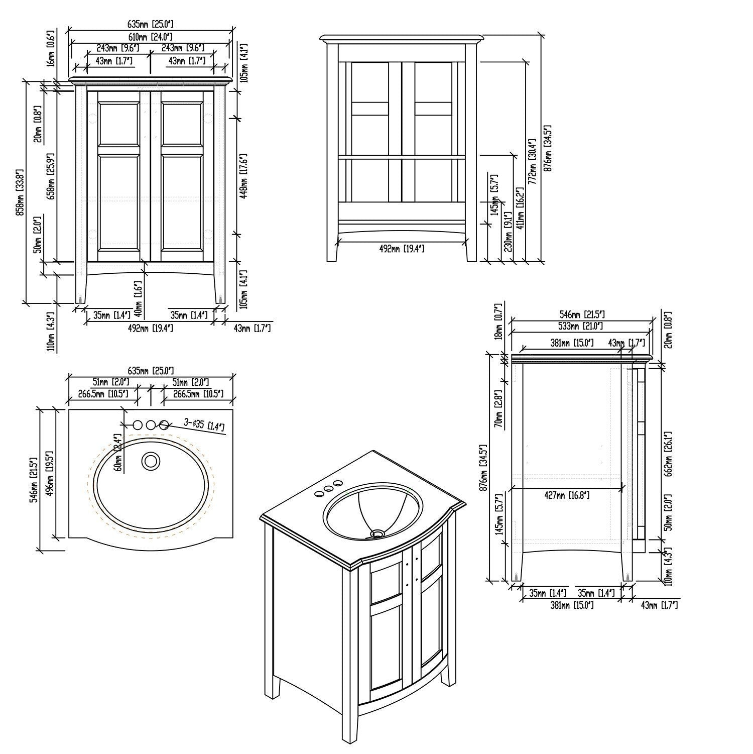 Winston 24 Inch Rounded Front Bath Vanity With Bombay White Engineered Simpli Home
