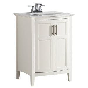 Soft White | Winston 24 inch Rounded Front Bath Vanity with Bombay White Engineered Quartz Marble Top