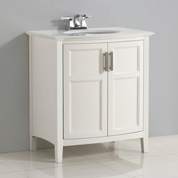 Soft White | Winston 30 inch Rounded Front Bath Vanity with Bombay White Engineered Quartz Marble Top