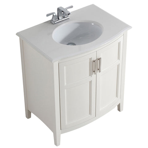 30 inch winston soft white bath vanity with rounded front