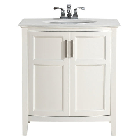 30 inch | Winston Off White Bath Vanity with Rounded Front