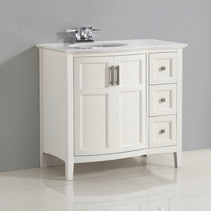 Winston 36 inch Rounded Front Bath Vanity with Bombay White Engineered Quartz Marble Top