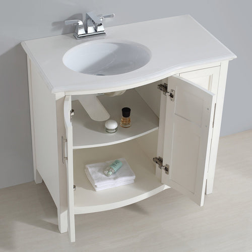 Soft White | Winston 36 inch Rounded Front Bath Vanity with Bombay White Engineered Quartz Marble Top