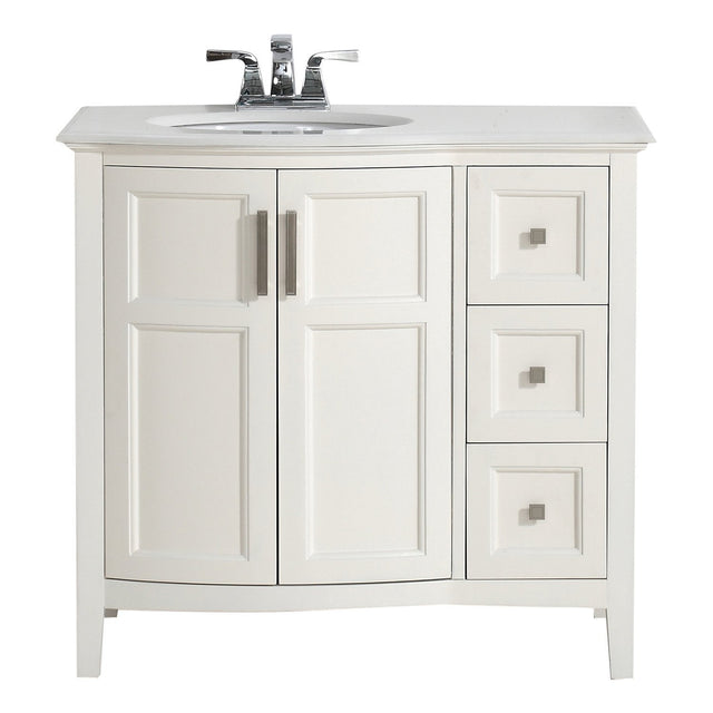 Load image into Gallery viewer, Soft White | Winston 36 inch Rounded Front Bath Vanity with Bombay White Engineered Quartz Marble Top
