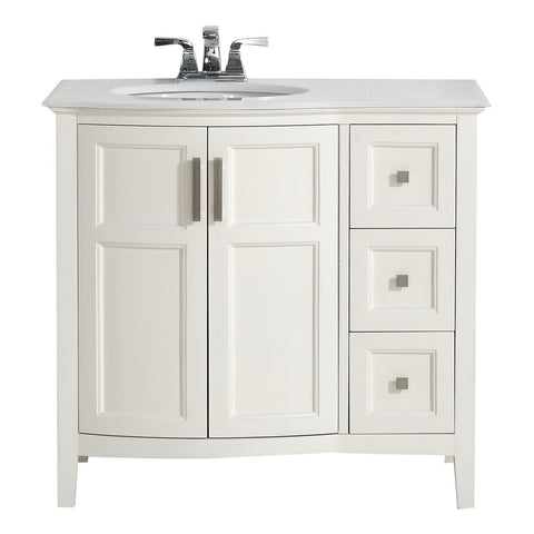 36 inch | Winston Soft White Bath Vanity with Rounded Front