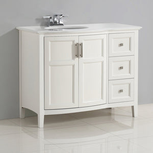 Soft White | Winston 42 inch Rounded Front Bath Vanity with Bombay White Engineered Quartz Marble Top