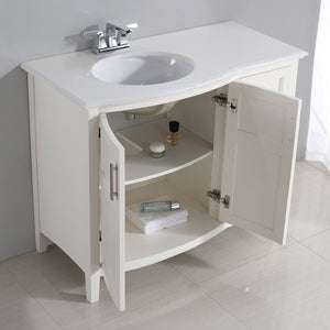 Winston 42 inch Rounded Front Bath Vanity with Bombay White Engineered Quartz Marble Top