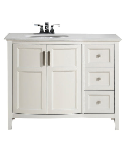 42 inch | Winston Soft White Bath Vanity with Rounded Front