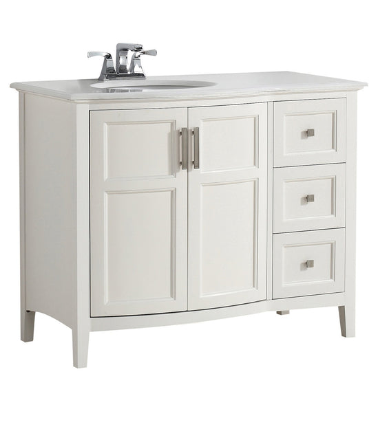 Load image into Gallery viewer, Soft White | Winston 42 inch Rounded Front Bath Vanity with Bombay White Engineered Quartz Marble Top