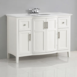 Soft White | Winston 48 inch Rounded Front Bath Vanity with Bombay White Engineered Quartz Marble Top