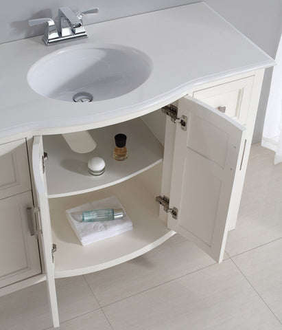 48 inch | Winston Off White Bath Vanity with Rounded Front