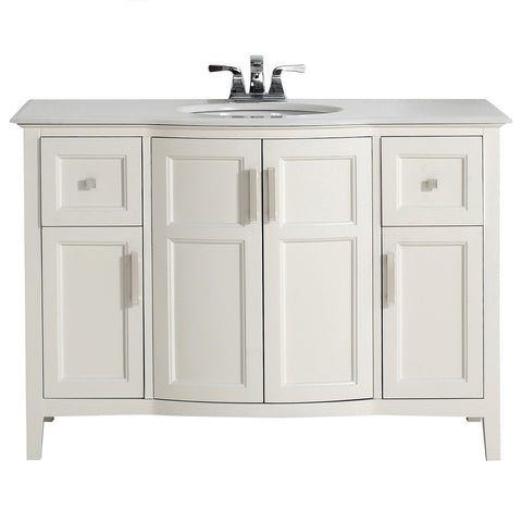 48 inch | Winston Soft White Bath Vanity with Rounded Front