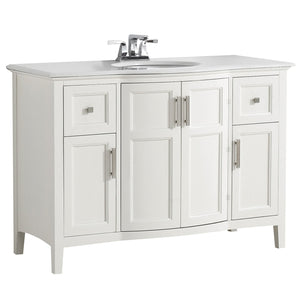 Winston 48 inch Rounded Front Bath Vanity with Bombay White Engineered Quartz Marble Top