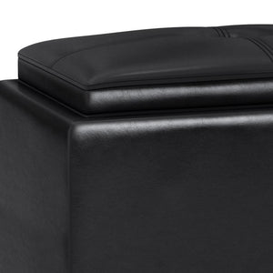 Midnight Black Faux Leather | Avalon 2 Tray Storage Ottoman