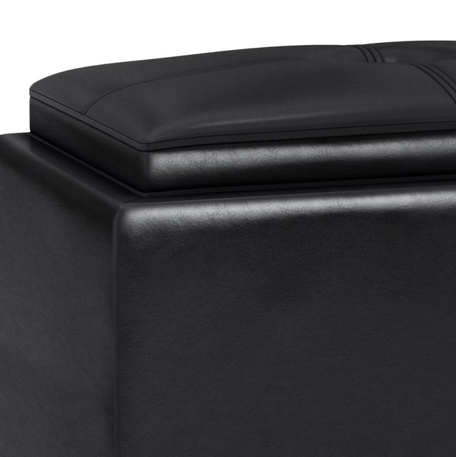 Load image into Gallery viewer, Midnight Black Faux Leather | Avalon 2 Tray Storage Ottoman